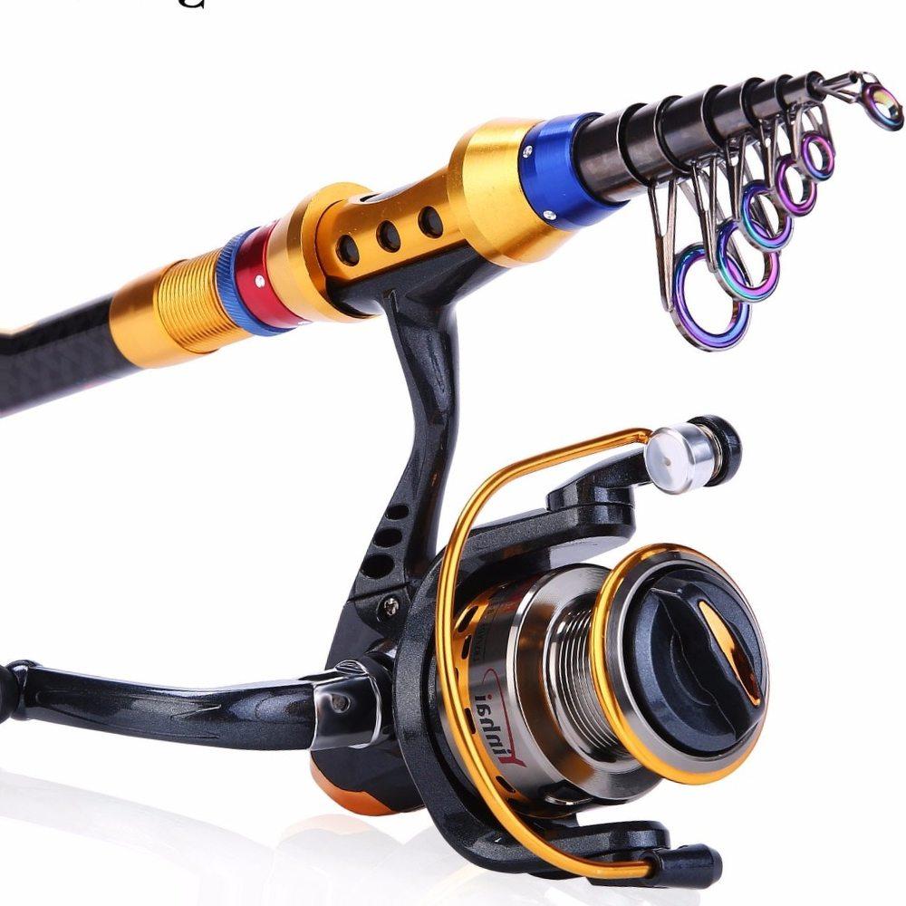 Sougayilang 1.8-3.0m Telescopic Fishing Rod and 14BB Fishing Reel Wheel Portable Travel Carp Carbon Spinning Fishing Rod Combo