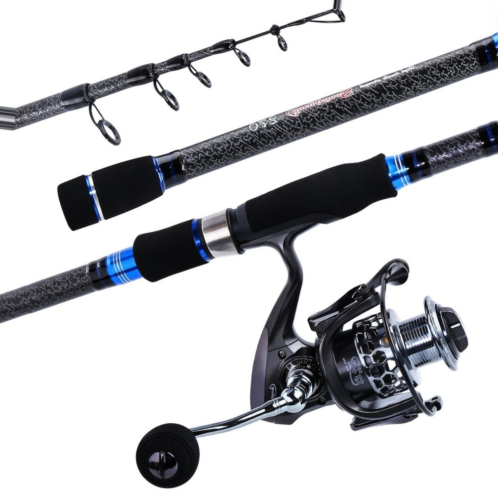 Sougayilang 1.8-3.0m Telescopic Fishing Rod and Fishing Reel With Spare Coil Combo Portable Travel Spinning Lure Rod Wheel Set