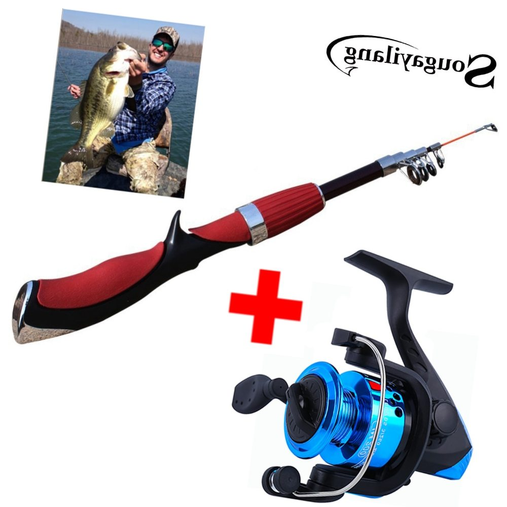 Sougayilang 140cm Ice Fishing Rod and Spinning Reel Combo Mini Carbon Ice Fishing Reel Set Telescopic Rods Kit Fish Tackle peche