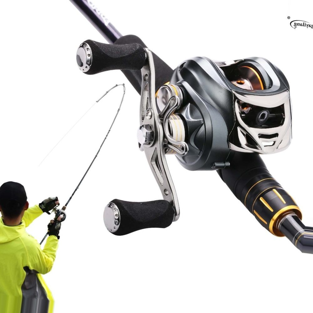 Sougayilang 2.12m Fishing Rod and Baitcasting Reel Combo 4 Sections Carbon Spinning Lure Rod and Casting Fishing Reel Sets Pesca