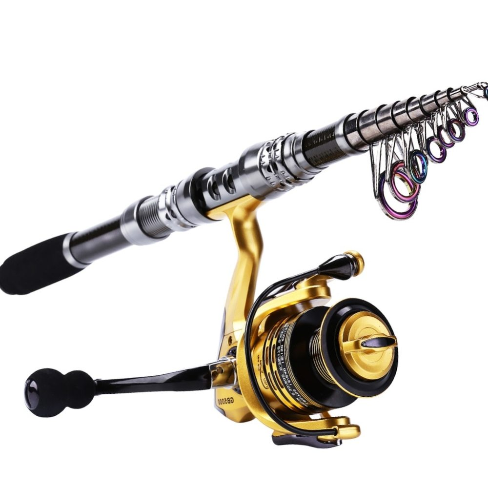Sougayilang 2.4M Carbon Telescopic Fishing Rod with GB3000 Series 3 Color Spinning Fishing Reel Combo Fishing Pole Sets Tackle