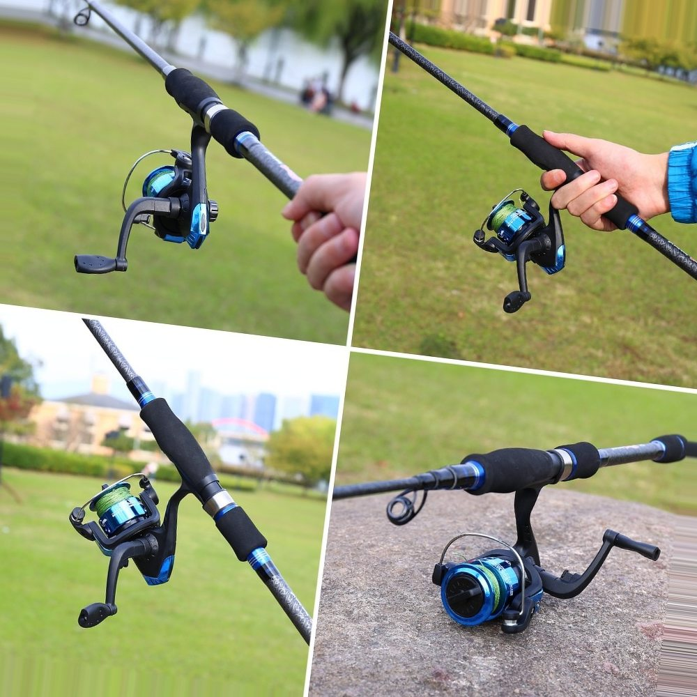Sougayilang 2.7m Telescopic Fishing Rod and Fishing Reel Combo Portable Travel Spinning Lure Rod Spinning Reels Knob Wheel Set