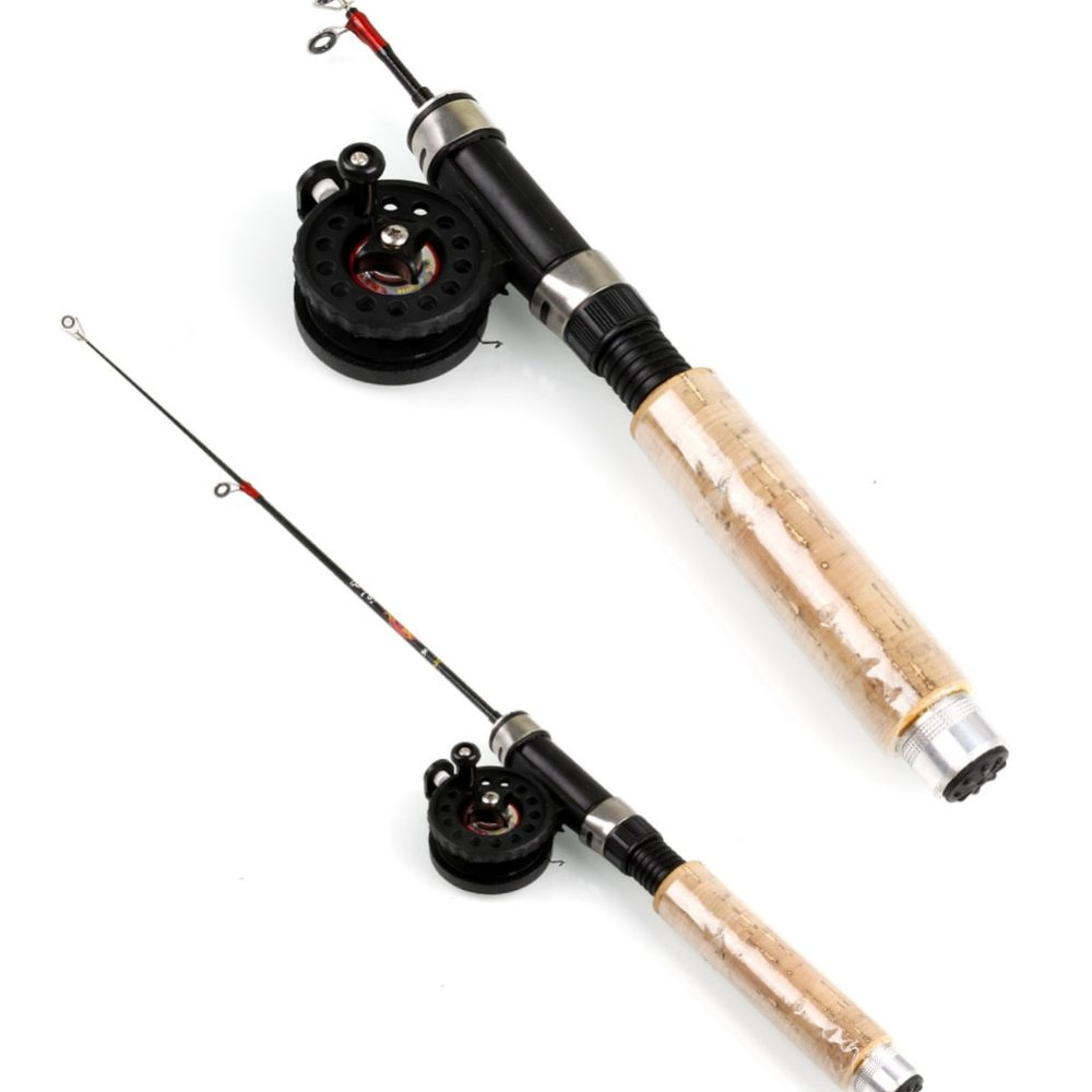 Sougayilang 67cm Carbon Rod Wooden Handle Telescopic Ice Fishing Rod With Reel Mini Fishing Rod Set Fishing Tackle Peche Carp