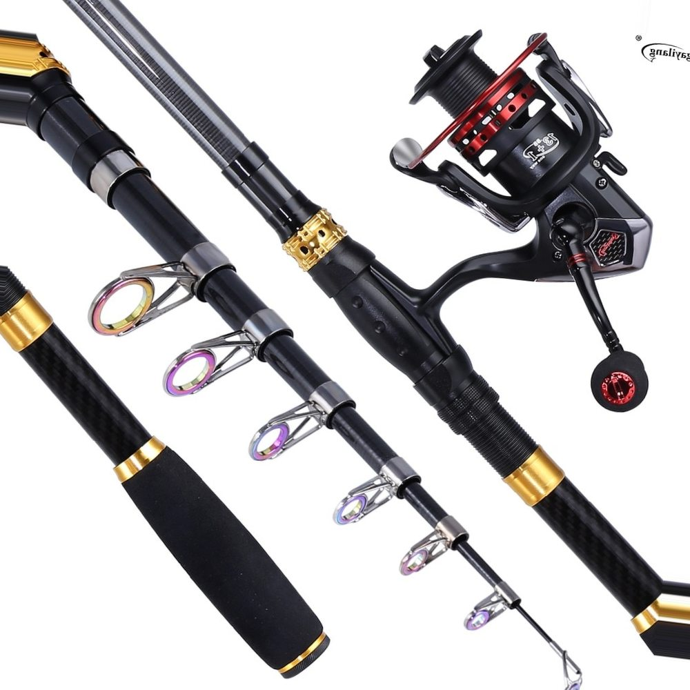 Sougayilang Carbon Fiber Telescopic Fishing Rod and Spinning Reel with Spare Coil Sets Portable Carp Rod Reels Pole Combo pesca