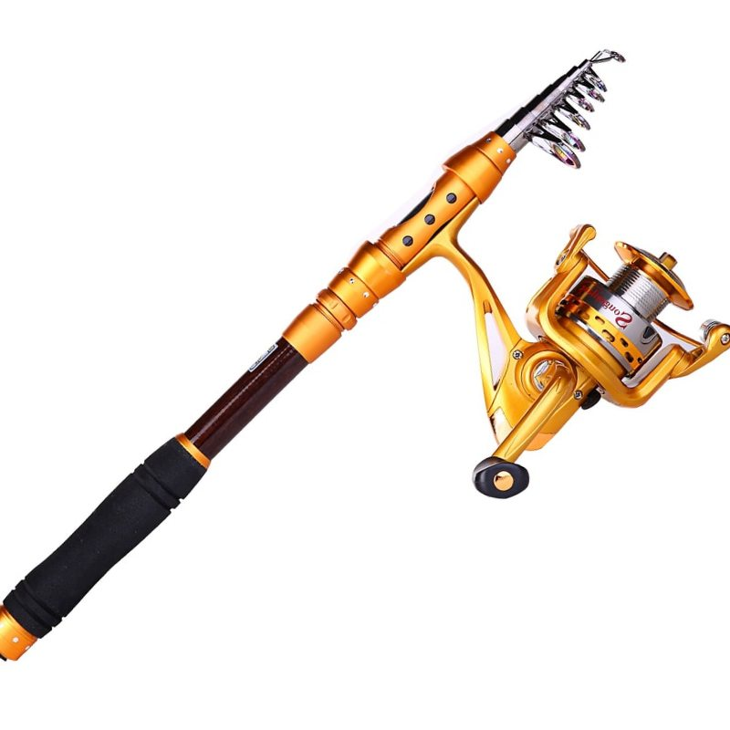 Sougayilang Fishing Rod Reel Combo Kit Carbon Fiber Telescopic Pole With Full Metal Reel Spinning Fishing Reel Fishing De pesca