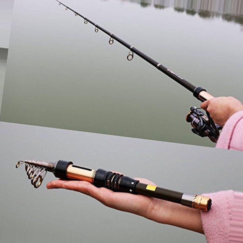 Sougayilang Mini Fishing Rod 1.3-2.4m Portable Carbon Fiber Rod Pocket Telescopic Fishing Rod Spinning Fishing Rod Vara De Pesca