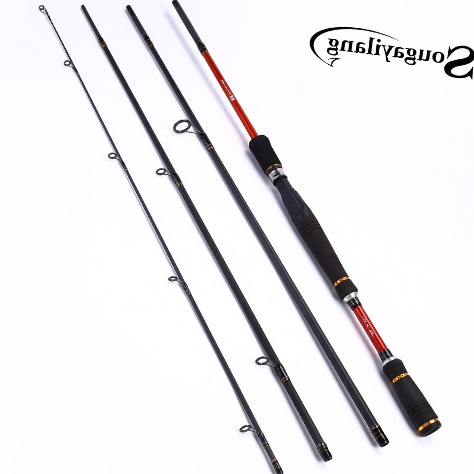 Sougayilang Portable Carbon Fiber Baitcasting Fishing Rod Lure Fishing Rod 210/240/270cm Length 4 Sections Fishing Rod De Pesca