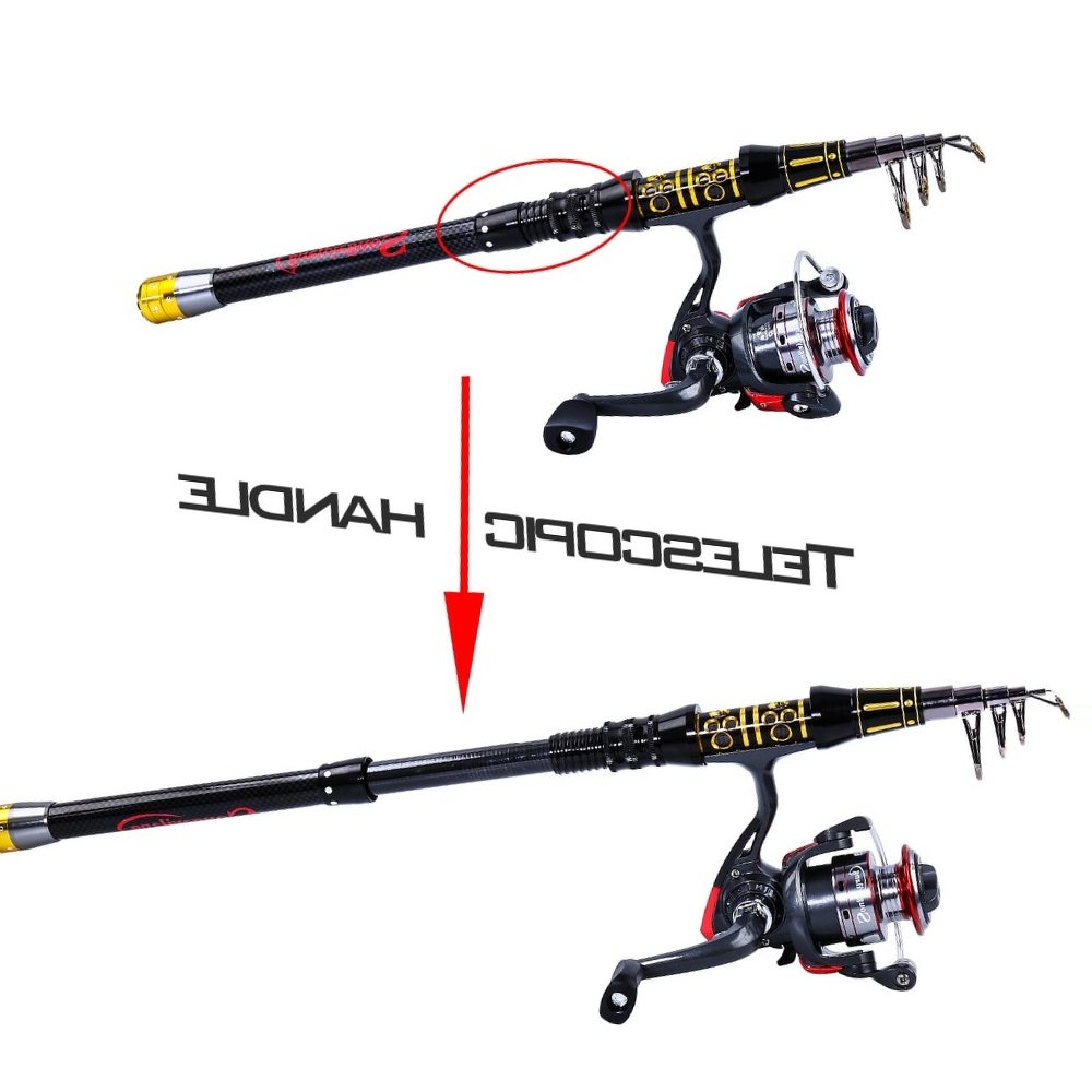 Sougayilang Portable Mini Telescopic Fishing Rod With Fishing Reel Combo Spinning Reel Carbon Pole Kit Fishing Tackle De Pesca