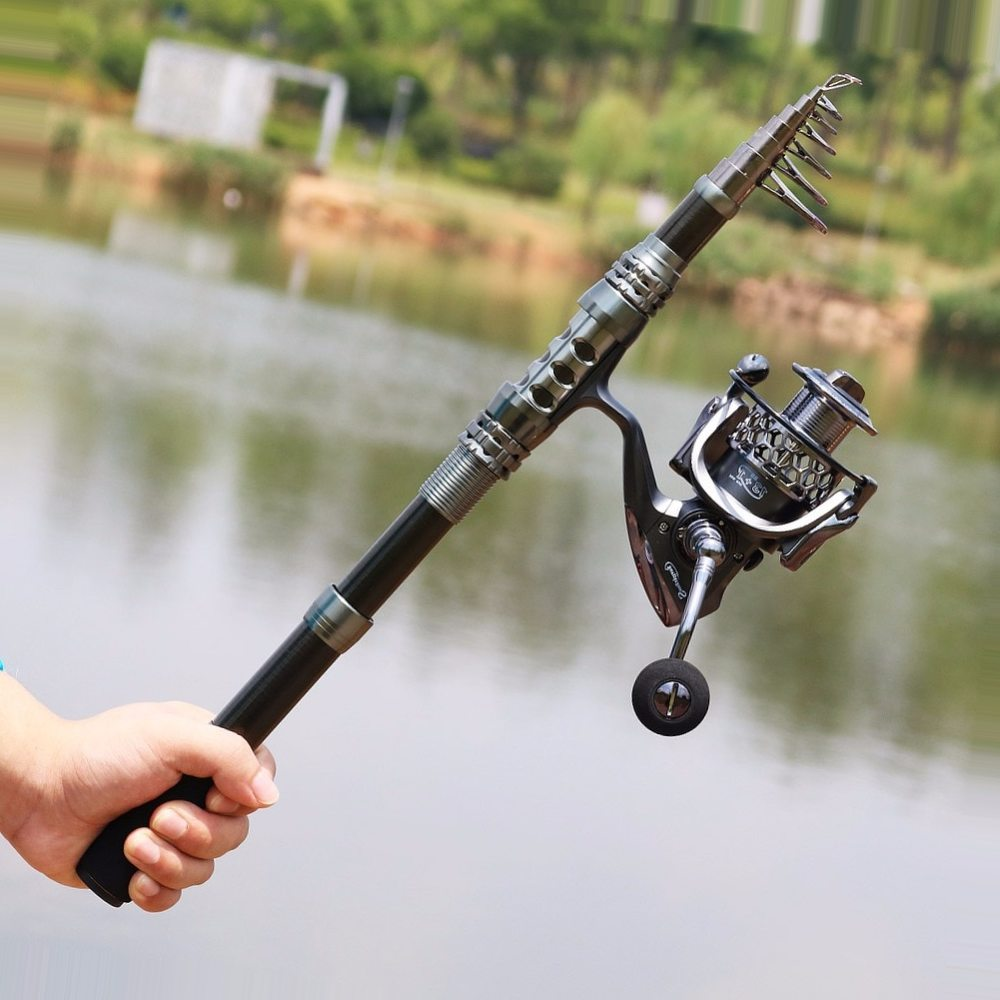 Sougayilang Spinning Fishing Rod and Reel Combos Portable Telescopic Fishing Pole Spinning Reels Saltwater Freshwater Fishing