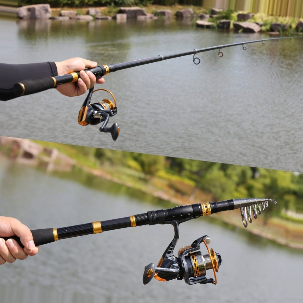 Sougayilang Telescopic Fishing Rod Reel Combos Fishing Pole Spinning Reels Fishing Carrier Bag Lure line Sets For Travel Fishing