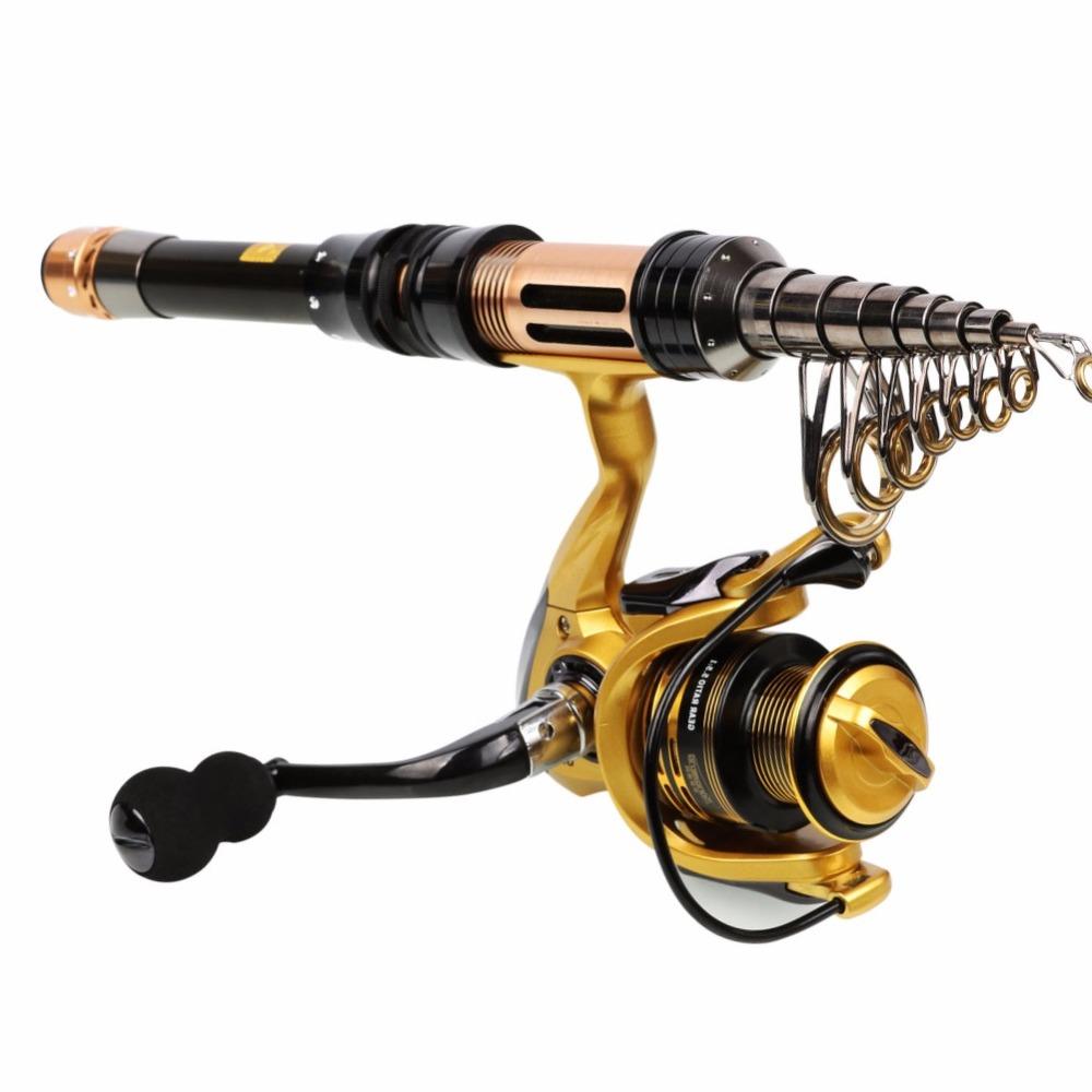 Sougayilang Telescopic Fishing Rod Spinning Fishing Reel Combo 1.3-2.4m Portable Carbon Fiber Rod Carp Fishing Reel Set De Pesca
