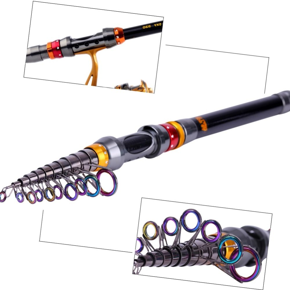 Sougayilang Top Quality 1.8-3.6M Telescopic Carbon Spinning Fishing Rod with Free Metal Lure Feeder Carp Fishing Olta De Pesca