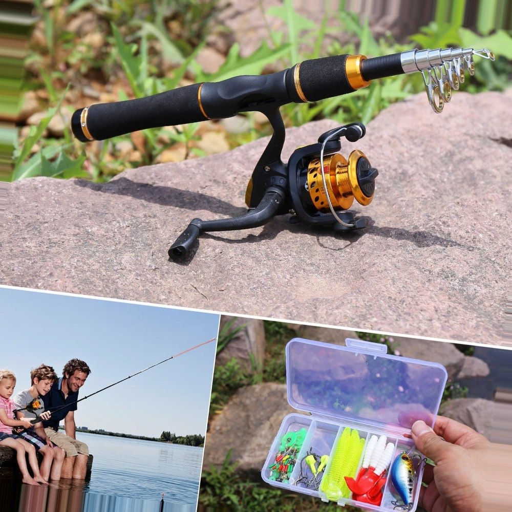 Sougayilang165cm Kids Fishing Rod Combos With Telescopic Pocket Fishing Pole Spinning Reels Travel Freshwater Bass Trout Fishing