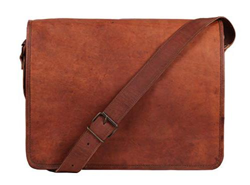 Rustic Town 15 inch Vintage Crossbody Genuine Leather Laptop  Bike messenger bag