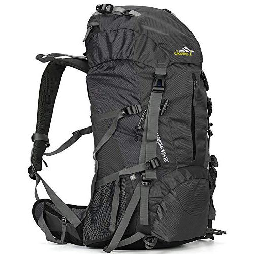Loowoko Hiking Backpack 50L Travel Camping Backpack with Rain Cover - No Internal Frame Camping Backpack