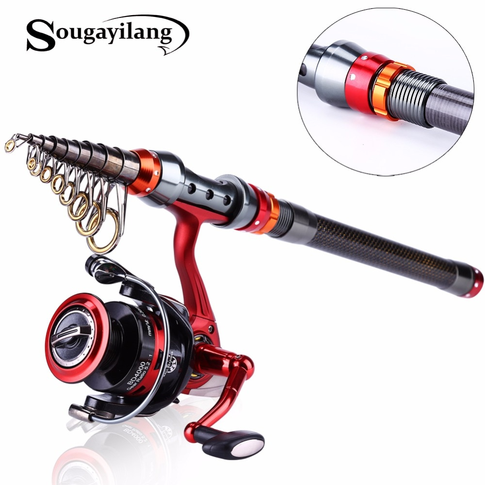 Sougayilang 1.8-3.0m Telescopic Fishing Rod 14BB Reel Combos Portable Spinning Fishing Reel Pole Carbon Fishing Rod and Reel Kit