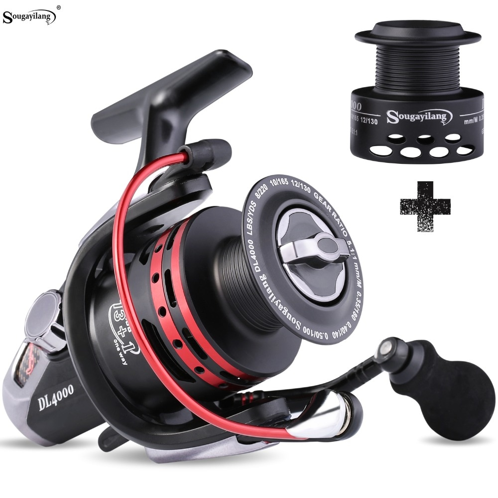Sougayilang DL1000-4000 Carp Fishing Reel Spinning Reel Max Drag 15KG Wheel Left/Right Casting Sea Fishing Reels Tackle De Pesca